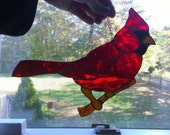 RED CARDINAL STAINED Glass ornament