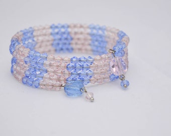 Blue and Rose Pink Crystal Beaded Wrap Bracelet Women's Jewelry Serenity Blue and Rose Quartz colors Gifts for Her