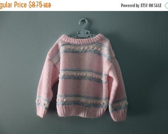 ON SALE Vintage handknit pink popcorn sweater / pretty in pink striped pullover sweater / knit  jumper / toddler girl size 2T to 4T