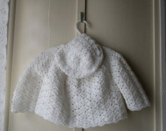 ON SALE Vintage baby sweater and bonnet /  hand crocheted pearly white matinee sweater and bonnet / newborn to 6 months