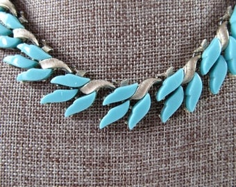 Vintage 1950s Charel Signed Thermoset Necklace, 1950s Charel Turquoise Thermoset Necklace, Charel Jewelry Collectors, 1950s Jewelry