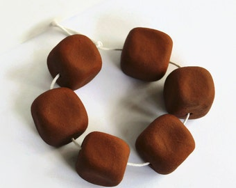 Large dark terracotta beads, Ceramic beads, African Beads, Organic, Earthy Beads, ceramic cubes, very large beads, large beads, terracotta