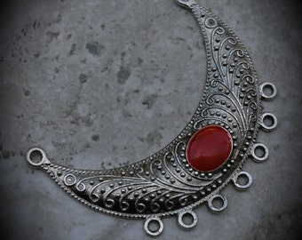 Silver Plated Pendant With Red Enamel