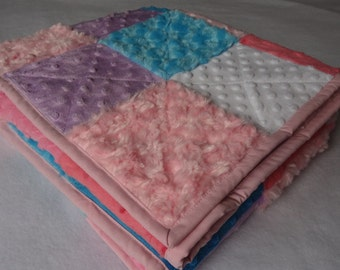"""Minky & Flannel Patchwork Baby Girl/Cuddle Quilt - 39"""" x 44.5"""" Playmat, Stroller Cover, Cuddlicious, Soft, Warm, Baby Gift"""