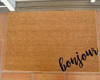 BONJOUR CORNER COIR Doormat  ... Hand Painted on a Coir Mat