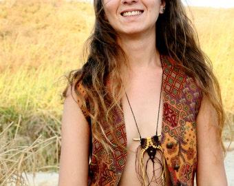 Native american necklace ~Indian necklace ~ leopard jasper skin  ~ TRIBAL ~primitive  ~  native ~ totem ~