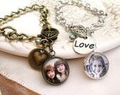 Photo Bracelet, Vintage Style Charm Bracelet, Birthstone Bracelet, Picture Bracelet, Pet Memory Charm, Chain Charm Bracelet, New Mom Gift