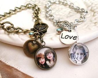 Photo Bracelet, Vintage Style Charm Bracelet, Birthstone Bracelet, Picture Bracelet, Pet Memory Charm, Bridal Charm Bracelet, New Mom Gift