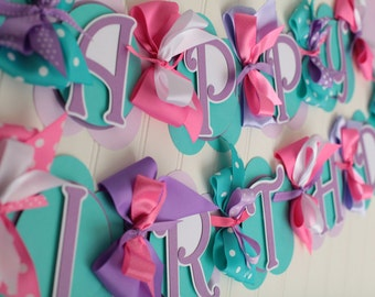 Happy Birthday Banner Pink, Purple, White, Teal
