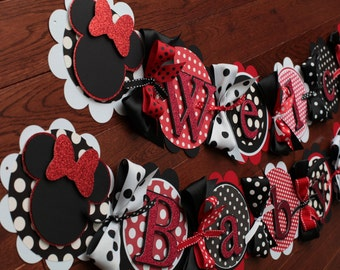Minnie Mouse Baby Shower,Minnie Mouse Baby Shower Decorations, Welcome Baby  Girl Banner Red
