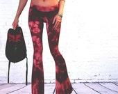 Yoga Pants Purple Shibori Tie dye flares Leggings Hand Tie dyed Shibori boho hippie gypsy pant pink yoga gift