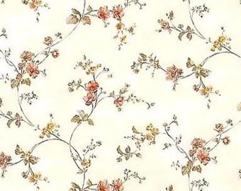 """Tissu imprimé """"Fleurs fond crème"""" XS 15x18cms - Printed fabric """"Fleurs fond crème"""" XS 6x7 inchs"""