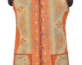 Vintage Kantha Short Vest Jacket Reversible Gudri Rally BA26