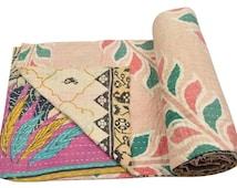 Vintage Heavy Kantha Quilt Gudri Reversible Throw Ralli Bedspread Bedding India OG121