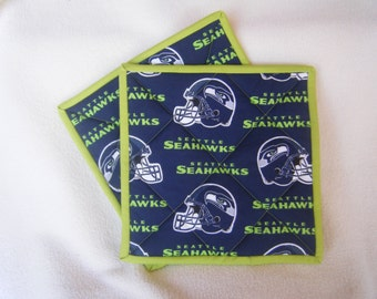 Large Seahawk's Football Fabric Quilted Potholders - Set of 2 - HANDMADE BY ME