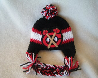 Crocheted Blackhawks Inspired or (Choose your team) Baby Beanie/Hat - Made to Order - Handmade by Me