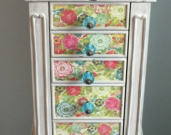 Multi Colored Repurposed Jewelry Armoire- Custom Made To Order