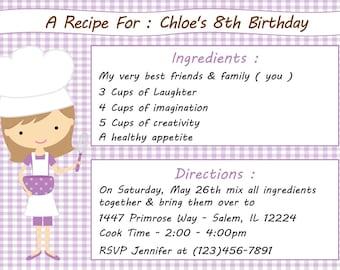 Kid's Cooking Invitation - Girl  (Digital File) / Kid's Baking Invitation / Cooking Birthday Party / Baking Birthday Invitation