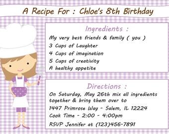Kid's Cooking Invitation - Girl  (Digital File)
