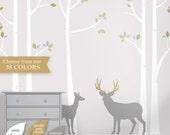 Deer Wall Decals - Tree Nursery Wall Decor - Rustic Deer Buck Birch Tree - Wall Art