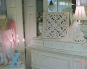 Architectural Ornate Square Vintage White Distressed Shabby Chic Cottage French Country