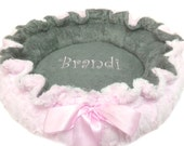 X large Dog Bed, Pet Bed, Personalized Dog Bed, Baby Pink and White Bed