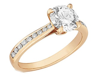 GIA Certified Round Diamond Engagement Ring 3.25ct Channel Set 18k Yellow Gold