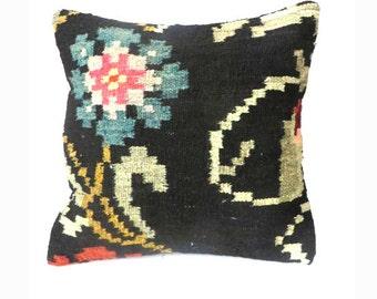 SALE/Vintage Turkish Kilim Pillow Cover\16x16\ USA Shop