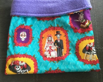 Day of the Dead Cotton and Purple Fleece Snuggle Bag