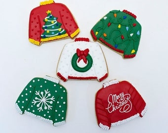 Decorated Cookies for Christmas - Ugly Sweaters - 1 dozen