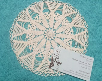 Doily, Vintage 7.5 inch White crochet doily for housewares, home decor, pillows, crafts, shabby chic, bags by MarlenesAttic