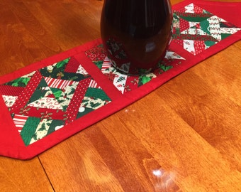 Vintage Christmas or Holiday Quilted dresser scarf or table runner for holiday, housewares, home decor by MarlenesAttic
