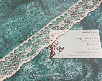 1 yard of 1 1/2 inch Off White Chantilly lace trim for sewing, crafts, costume, housewares, couture by Marlenes - Item 7Y