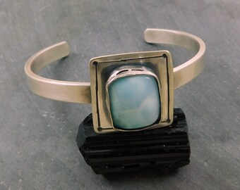 Larimar Moderinst Geometric Cuff, Oxidized Sterling Silver, Larimar Hand Fabricated Bracelet