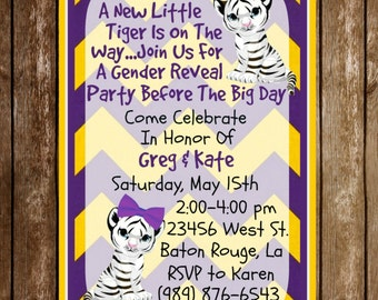 LSU Tiger Gender Reveal Baby Shower Party Invitation