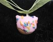 Rainbow Sprinkled Kitty Doughnut Necklace