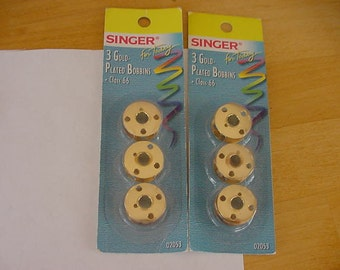 2 Packages Singer Gold Plated Bobbins, 6 Bobbins, Class 66, NIP, Sewing Notions, Sewing Tools, Supplies