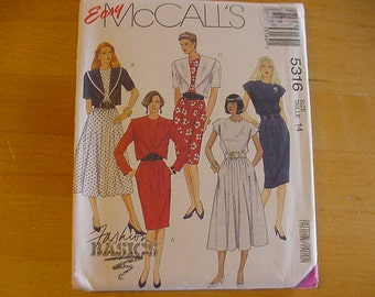 1990s McCalls Easy Pattern 5316, Misses Unlined Loose Fitting Jacket and Dresses, Size 14, Bust 36, Vintage, UNCUT