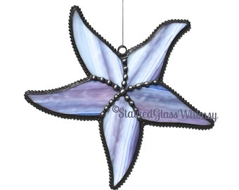 Stained Glass STARFISH Suncatcher, Purple / Rose Starfish, Decorative Soldering, USA Handmade Original Design, Purple Starfish, Sea Star