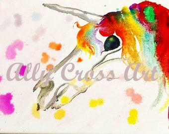 """Fine Art Print """"Unicorn Skull"""" Fantasy Skeleton Unicorn Art by Ally Cross"""