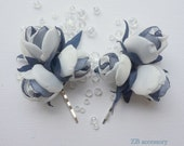 Ivory White Cream Navy Rose Clips, Bridal Hair Accessories, Rose Buds Floral Ornament Embellishment, Bridesmaids Shoe Clips, Flower Brooch
