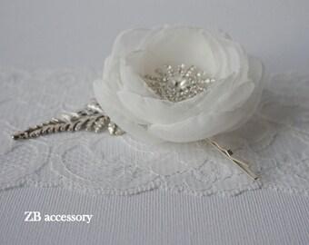 Ivory silk organza bridal hair flower bobby pin, Bridal hair clip, Bridal head piece, Bridal hair accessories, Handmade Flower with crystals