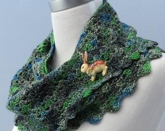 Hand crochet green blue shawl scarf