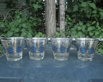 Vintage Drinking Glasses Blue and Gold Set of Four Cocktail Retro Mid Century Barware