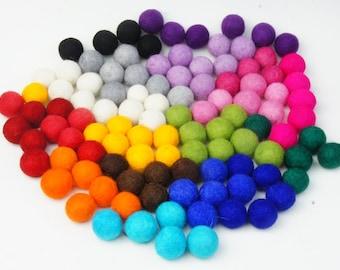 Felt Balls, Ball, Wool Ball, 2-2.2 cm, 100 pcs, Pom Pom, Felt Ball, Garland, Choose Your Color, Felt Beads, Birthday Ball, Kids Room Decor
