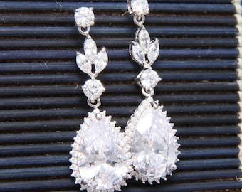 Teardrop Dangle Cubic Zirconia Earrings, Wedding Bridesmaids Earrings, Bridal Earrings, Stud Earrings, Christmas Gift, Birthday Gift