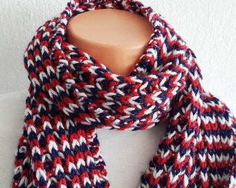 Blue white red  SCARF  Chunky Scarf ,scarves,fall fashion,winter accessories,autumn,Knitting