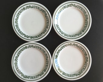 "Buffalo Diner Restaurant Hotel China Green Kenmore 6"" Plates (Set of Four) Excellent Condition"