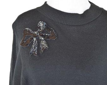 Clearance - 1980's Black Sweater dress- long sleeve pullover dress- sleek sweater dress- ladies size medium