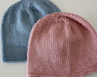 Newborn baby hat- pink or blue - hand knitted in pure wool